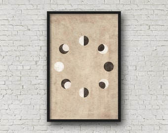 Moon Print, Moon Phases, Moon Wall Print, Moon Poster, Moon Prints, Moon Wall Art, Moon Phases Print, Moon Phases Poster, La Lune