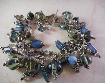 Bead Bracelet with Chunky Colorful Glass and Metal Beads