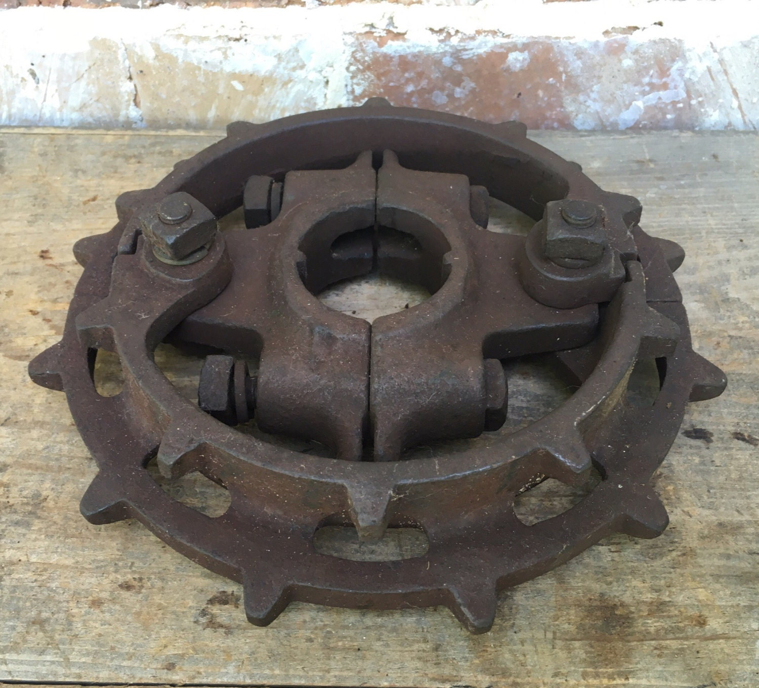 Cast Iron Wheels And Gears : Vintage large cast iron metal pulley gear wheel industrial
