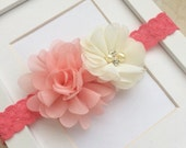 Peach cream and coral lace headband,coral headband,lace headband,spring headband,easter headband,newborn headband,toddler headband