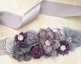 Wedding sash,maternity sash,flower girl sash,wedding,gray sash,grey and plum,silver sash,wedding belt,bridal sash
