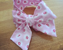 Girl's Headwrap Big Bow Cotton Headband in pink rose floral fabric