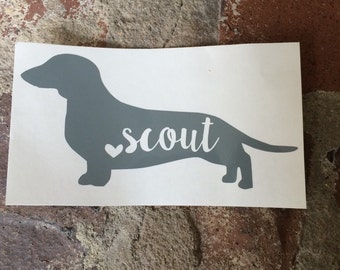 Personalized Dachshund Name Decal | Yeti Decal | Mac Book Decal | Car Decal