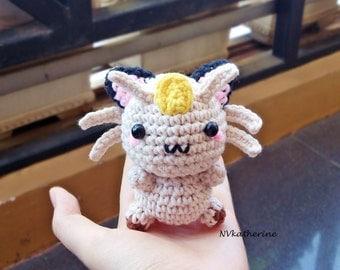 FREE SHIPPING Chibi Meowth Made-to-order Crochet Amigurumi, Pokemon plush toy