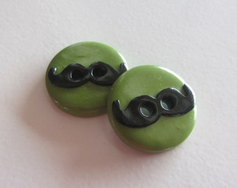 Olive Mustache Buttons ~ Set of 2