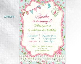 Shabby chic birthday printable invitation, photo invitation, digital invitation