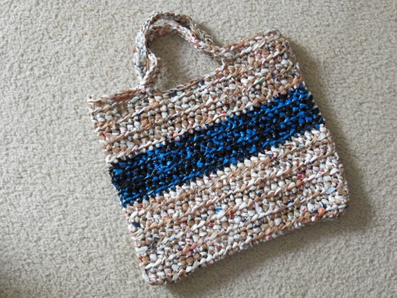 Tote made from recycled plastic bags (plarn). Brown/white with black/blue stripe....Free shipping!