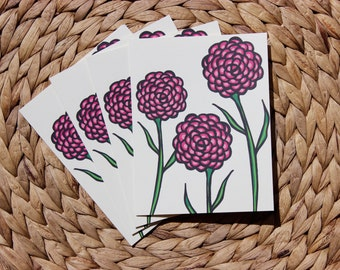 "Pink Carnation Cards - 4 Pack - A2 (4.25""x5.5"") Blank Inside"