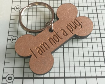 """French Bulldog harness collar tag charm. """"I am not a pug."""" Perfect for all flat faced breeds!"""