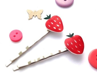 Strawberry Hair Slides - Fruit Bobby Pins, Set of 2 Quirky Fun Strawberry Hair Accessories, Wimbledon Summer Shrinky Dink.