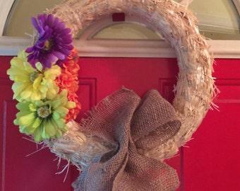 Burlap Fall Straw Wreath