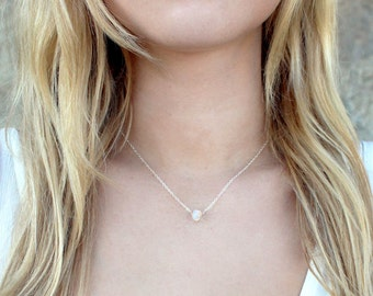 Dainty Opalite Opal Gemstone Necklace / 14k Rose Gold Sterling Silver Delicate Chain / Minimal Simple Short Layering Necklace / Bridesma