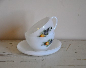 Vintage Arcopal Tea Cup and Saucer - Set of 2 - French Milkglass