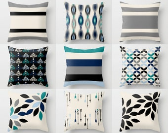Sofa Pillow Covers, Decorative pillows, Home Decor, ikat floral stripe, accent pillow covers, black beige navy teal grey, mix and match