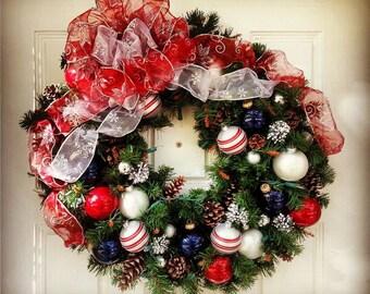 Pre-Lit Patriotic Christmas Wreath