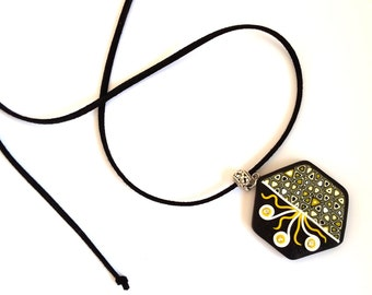 Polymer Clay Pendant, Modern Pendant, Abstract Necklace