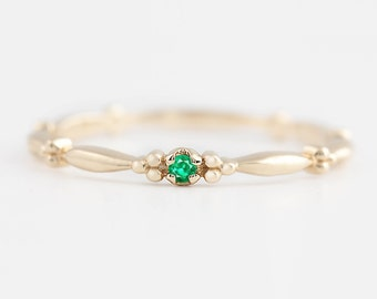 Tiny emerald solitaire ring, 14k gold, rose gold, white gold, emerald stack rings, emerald stacking ring, stack-r106
