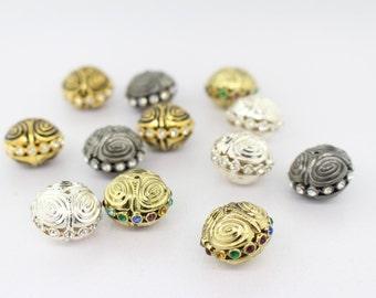 12 Fancy Metal Rhinestone Beads (20x15mm)