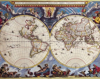Digital Vintage Maps - World Double Hemisphere Map Joan Blaeuc 1662 - Instant Download - High Resolution - Printable Art Poster