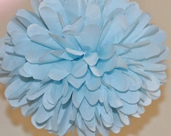 Light Blue Pom Poms, Baby Gender Reveal Party Decoration, Sip and See Party Decorations, Baby Boy Shower Decoration, Baby Blue Nursery
