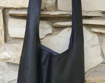 Soft bonded leather across the body hobo bag in Black or Navy. black hobo bag, slouch bag, boho bag