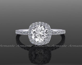 White Sapphire Engagement Ring, Diamond Alternative, Halo Engagement Ring, 14k White Gold, Promise Ring Re00071