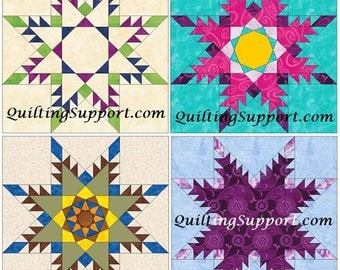 Feathered Star Set of 4 Paper Piece Template Quilting Block Patterns Set 2 PDF