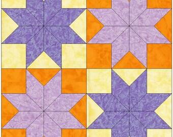 Four Stars Patchwork Variation Paper Piece Templates Quilting Block Pattern PDF