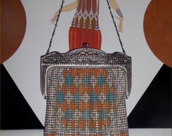 JAZZY Cut-Out Frame DECO Whiting & Davis Mesh Purse--1920s Vintage Flashy Flapper Mesh Bag!