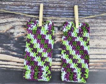 Gloves - Purple, Green and Blue - Fingerless Gloves - Crochet