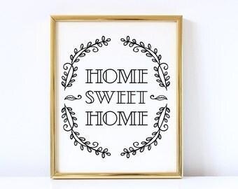 Home Sweet Home Printable Art | Entryway Wall Decor | Entryway Art | Sweet Home Mud Room Printable Art | Home Decor |