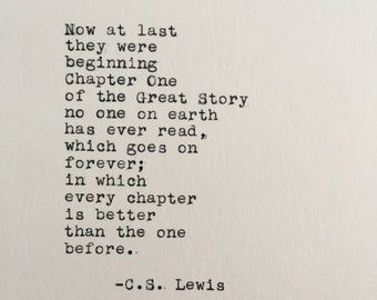C.S. Lewis Love Quote (Chronicles of Narnia) Typed on Typewriter - 4x6 White Cardstock