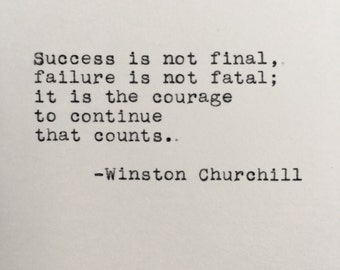 Winston Churchill Success Quote Typed on Typewriter - 4x6 White Cardstock
