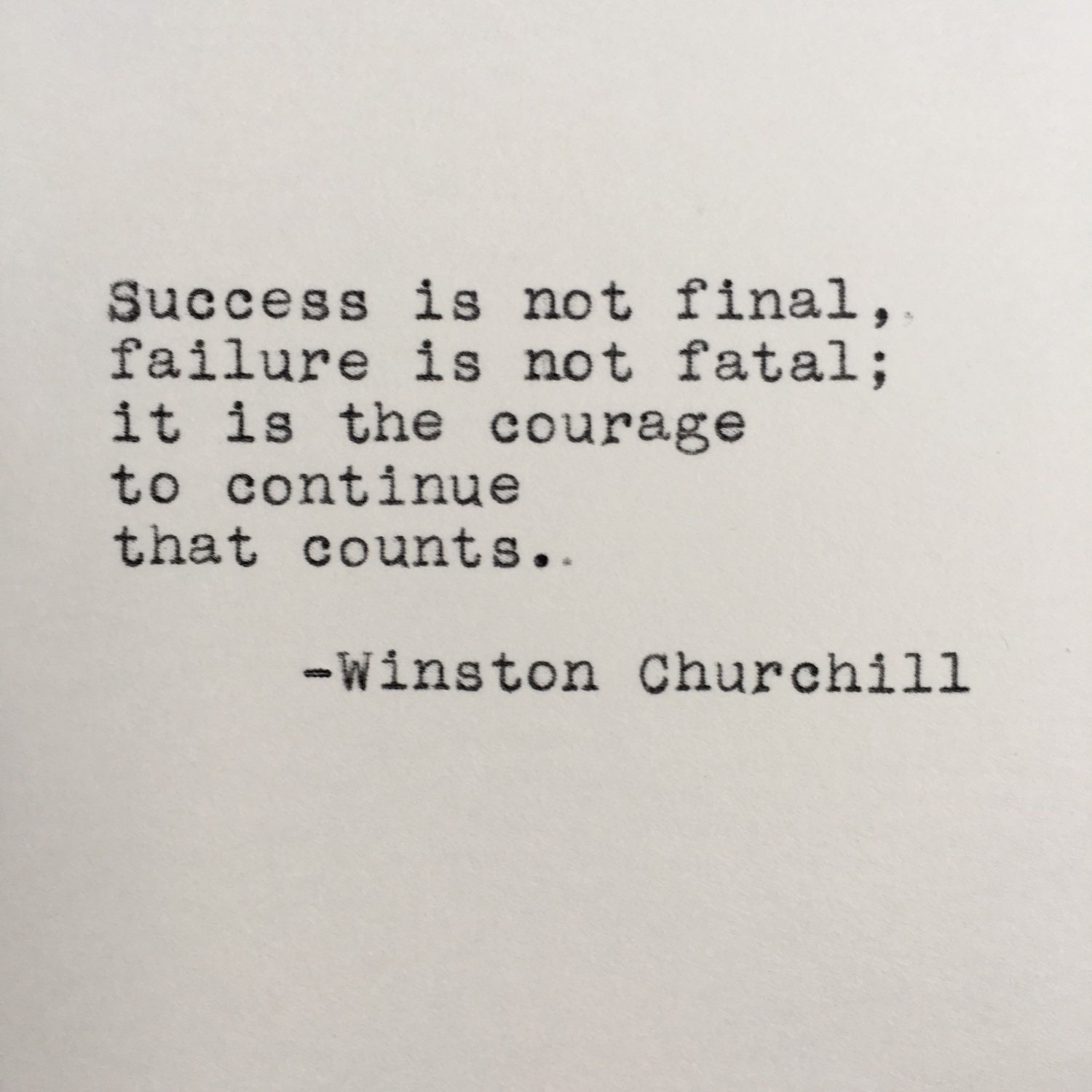 Inspirational Quotes About Failure: Winston Churchill Success Quote Typed On Typewriter 4x6