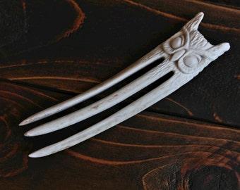 Owl Hair Fork - Carved from Antler