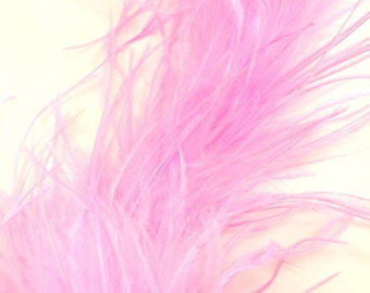 """Pink curly ostrich feather - 12"""" feather piece - Diy feather puff - Craft feathers - Fluffy feather trim - Ostrich feather"""