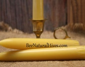 Hand Dipped Beeswax Taper Candle One Pair 6 x .75  Natural Scent 100 % Pure Beeswax Northwood Cabin Decor Rustic Gift Idea Christmas Candle