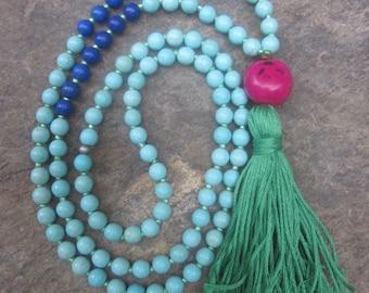 long beaded tassel necklace 108 mala prayer beads turquoise necklace blue lapis gemstone block colors pink tagua nut green tassel necklace