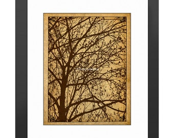 Ljubljana Weeping Art Print, Vintage Photo Print, Travel Photography, Branches, Nature, Silhouette Art, Brown, Tan, Leather