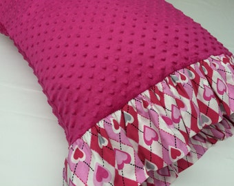 Valentine Minky Dot Pillowcase made with Hot Pink Minky Dot with Valentine Ruffles