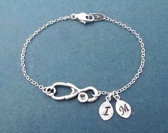 Personalized, 0-5, Letter, Initial, Stethoscope, Silver, Bracelet, Doctor, Nurse, Medical, Gift, Jewelry