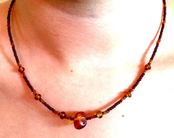 Glass Beaded Necklace With Amber Accent Bead