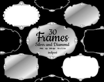 Silver and Diamonds digital Frames Clip Art. Set of 30 various silver with diamonds frames clipart. Instant download in PNG format.