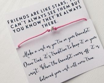 Sterling Silver   Friendship Bracelet   Friends are like stars   Positive Vibes   Make a Wish   Boho Jewelry   Gift   Wish Bracelet