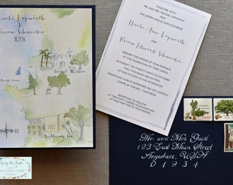 Watercolor Wedding Invitation Suite - California Wedding - Custom Wedding Map - Carmel Wedding - Mission Wedding