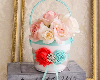 Flower Girl Basket in Coral Aqua and Gray, Wedding Flower Basket, Coral Aqua Flower Girl