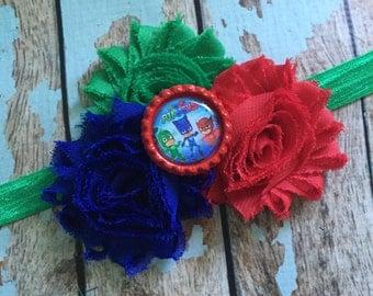 PJ MASKS Shabby flower headband hair bow