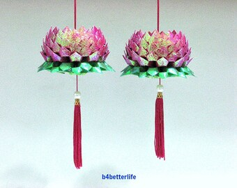 A Pair Of Maroon Color Medium Size Origami Hanging Lotus. (CY paper series). #FLT-24.