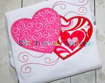 Double Hearts Valentines Machine Applique Design