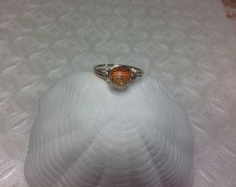 Orange disco ball crystal ring